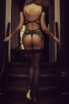 pleasurements:  Pleasurements by Gaby Fling Location: The House of Pleasurements (Pleasurements Boutique Amsterdam) Our Model Joyce Noor is wearing the Bordelle Voyeur Harness, Bordelle Harness Thong & Bordelle Webbed Suspender