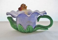 SMALL Sweet HAND BUILT Ceramic FLOWER Teapot BUTTERFLY BOX HP Fairy Tale BEAUTY