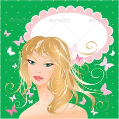 Blonde Girl Beautiful Face #GraphicRiver Blonde girl beautiful face – portrait on polka dot green background with butterflies and oval frame for your text. This image is a vector illustration and can be scaled to any size without loss of resolution. All parts of the image are editable. EPS file included. Created: 13May13 GraphicsFilesIncluded: VectorEPS Layered: No MinimumAdobeCSVersion: CS Tags: avatar #beautiful #beauty #blonde #care #cosmetic #curve #design #elegant #element #face…