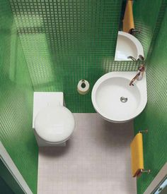 Impressive Corner Toilet in Contemporary Flair Give Classy Touch : Wonderful Green Interior Bathroom Minimalist Corner Toilet White Washbasin