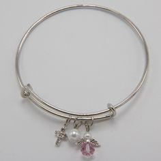 Unique Catholic First Communion Gift for Girls - Guardian Angel Bangle Bracelet   Coming Up Catholic