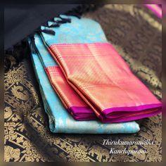Pattu Sarees Wedding, Indian Bridal Sarees, Bridal Silk Saree, Pattu Saree Blouse Designs, Bridal Blouse Designs, White Saree, Blue Saree, Bollywood Saree, Bollywood Fashion