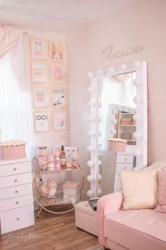 Pink Walk in Closet & Beauty Room Reveal Pink Bedroom Decor, Bedroom Decor For Teen Girls, Cute Bedroom Ideas, Cute Room Decor, Girl Bedroom Designs, Room Ideas Bedroom, Teen Room Decor, Small Room Bedroom, Girls Bedroom Pink