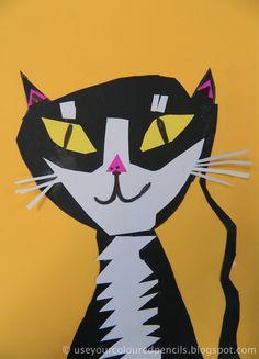 Use Your Coloured Pencils: 1st grade Cat Collages art project idea lesson. Symmetry lesson.