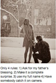 engagement rules EXCEPT please tell both of my parents and  yours before you pop the Q - i love your family like they are already mine and I want them to share this with us.