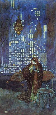 'The cup of wine which she gives him each night contains a sleeping draft' Original illustration to The Story of the King of the Ebony Isles from Stories from the Arabian Nights, retold by Lawrence Housman ( Hodder & Stoughton, 1913)