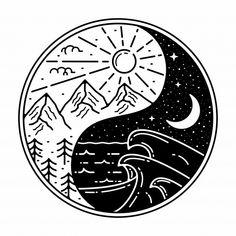 Tatuajes Yin Yang, Yin Yang Tattoos, Arte Yin Yang, Yin Yang Art, Tattoo Japonais, Yin Yang Wolf, Yin Yang Designs, Tattoo Design Drawings, Badge Design