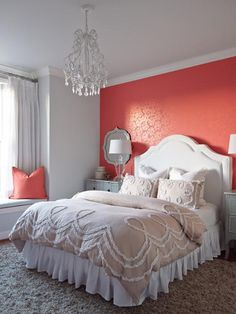 New Bedroom Paint Coral Accent Walls 17 Ideas Coral Accent Walls, Coral Walls, Accent Wall Bedroom, Grey Walls, Bedroom Colors, Bedroom Decor, Bedroom Ideas, Bedroom Designs, Gray Coral Bedroom