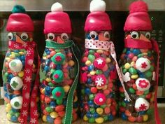 Recycled Coffee Containers Santa Crafts | Coffee creamer containers filed with goodies