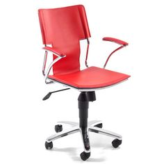The Actona Stanfield Desk Chair Red as a leather effect finish Arm rests Polished chrome frame Pressure castors Delivered boxed for. Julia Jones, Desk Light, Study Office, Desk Chair, Home Lighting, Contemporary Furniture, Polished Chrome, Lights, Red