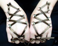 body modification hand corsets art adornment ribbon black