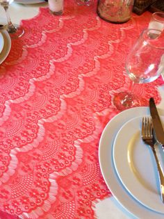 10ft Coral Table Runner 20in Wide X 120in By LovelyLaceDesigns, $11.50. For  Dessert Table