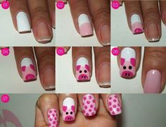 Simple Nail Art Designs tutorial step by step, easy nail art designs by hand for beginners at home , nail art design without tools, Nail Airt by toothpick Pig Nail Art, Pig Nails, Animal Nail Art, Cute Nail Art, Easy Nail Art, Simple Nail Art Designs, Beautiful Nail Designs, Nail Designs For Kids, Cartoon Nail Designs
