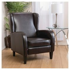 Carter Wing-Back Bonded Leather Recliner Chair Brown - Christopher Knight Home & Overstock - This riverside recliner features stylish bent wood ... islam-shia.org