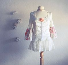 Image detail for -Shabby Chic Cream Top Upcycled Lace Shirt Ladies Clothing Peach Floral ...