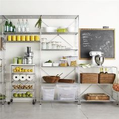 Wire shelving is a miracle worker in an overcrowded kitchen. It increases storage, lends a modern industrial vibe, and even helps make your space look larger.