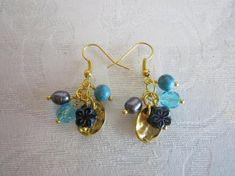 Indigo Blue and Gold Sapphire Gem Jam Gold Tone Cluster Earrings $6