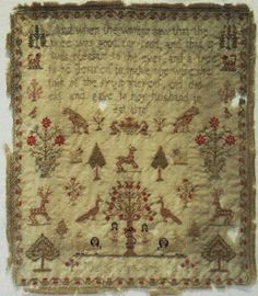 18TH CENTURY ADAM & EVE & MOTIF SAMPLER BY MARY COOK -