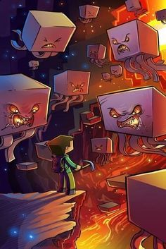 Beautiful artwork of a gamer facing a horde of Ghasts in the Nether in Minecraft Video Minecraft, Minecraft Drawings, Minecraft Pictures, Minecraft Creations, Minecraft Fan Art, Minecraft Posters, Minecraft Comics, Wallpaper Minecraft, Izu