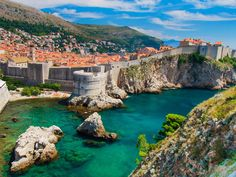 Ancient City Walls Dubrovnik, Croatia mountain water Nature canyon rock valley Coast Sea River cliff rocky landscape terrain reservoir water feature cove aerial photography overlooking hillside stone