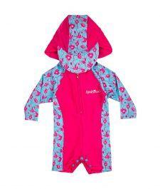 Baby-Toddler-Girl-Rash-Suit-Sun-Vest-Hat-Pink-Blue-Flowers-Ballerina-Blooms-Long-Sleeve-LSRSBB1617-000-3 Beachwear, Swimwear, Wetsuit, Kids, Blue Flowers, Ballerina, Pink Blue, Toddler Girl, Vest