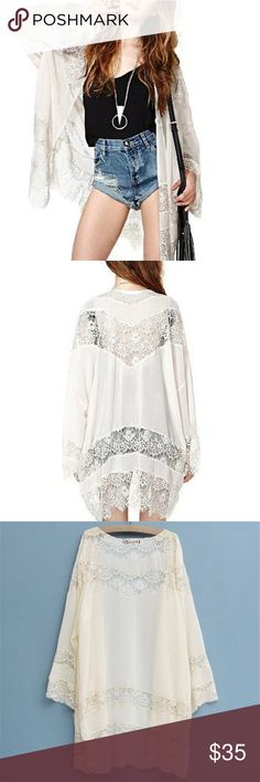 White crochet lace kimono bell sleeves Brand new / never worn. Perfect condition. Flowy white lace detailed kimono. Not free people, here for views. Feel free to make me an offer Free People Sweaters Cardigans