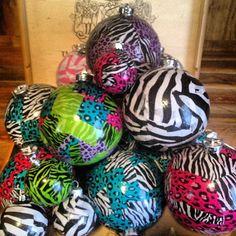 Zebra & Cheetah Awesome Christmas Ornaments by ChristmasMW on Etsy, $12.00