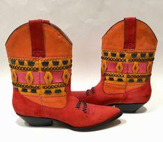 73e287c46dc Circle S Western Boots Orange Multicolor Navajo Cowboy Cowgirl Statement  Shoes Vintage Size 7M