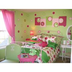 teen girls polka dot room found on Polyvore