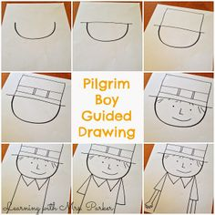 Guided Drawings of Pilgrims and Native Americans