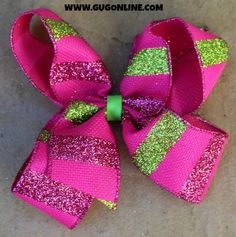 Hot Pink and Lime Green Glitter Stripe Hairbow www.gugonline.com $12.95