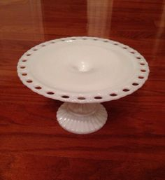 Vintage Imperial White Lace Milk Glass Cake Stand Plate Pedestal Foot Marked IG