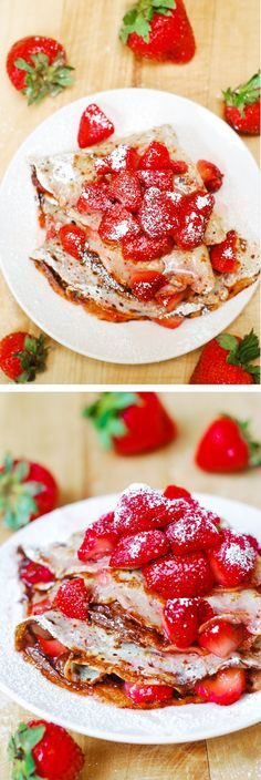 Strawberry & Nutella crepes.  Perfect for Summer breakfast or dessert!