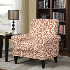 Dana Medallion Rolled Arm Accent Chair, Multiple Colors