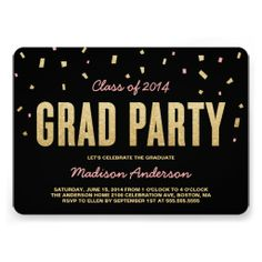 Confetti Toss | Chic Custom Graduation Party Invitation  #invites #invite #invitation #invitations #custom #template #templates #customize #customizable #personalized #personalize #stylish #design #professional #affordable #contemporary #chic #trend #trendy #gold #black