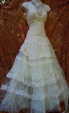 Ivory boho wedding dress tiered lace vintage by vintageopulence, $525.00