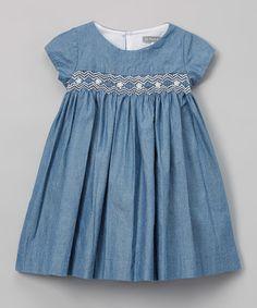 Look what I found on #zulily! Navy Blue Denim Smocked Dress - Infant & Toddler #zulilyfinds