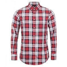 Dsquared2 Red & White & Blue Cotton Classic Plaid Shirt (650 AUD) ❤ liked on Polyvore featuring men's fashion, men's clothing, men's shirts, men's casual shirts, men, mens button front shirts, mens longsleeve shirts, mens red shirt, mens long sleeve shirts and mens red plaid shirt