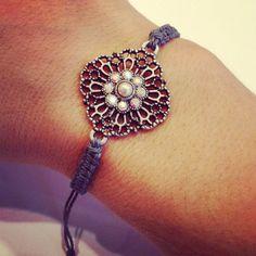 Macrame bracelet with sparkly bead by AroundMyWrist, $ 11.25