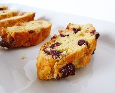 Cranberry White Chocolate Almond Biscotti... Note to self:  Try to adapt into cranberry white chocolate almond bark for Christmas gifts?