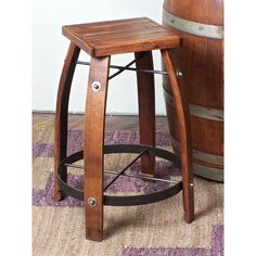 2 Day Designs Reclaimed 24-Inch Stave Wine Barrel Counter Stool with Wood Seat - Wine Furniture at Hayneedle