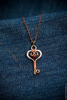 necklace copper key hammered and wire wrapped