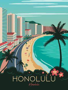 Hawaii Travel Poster Vintage Retro wall art Honolulu map Tropic