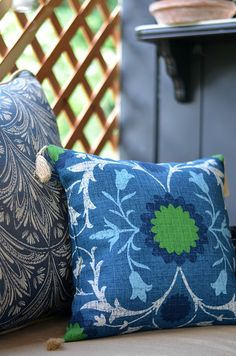The Royal Zanzibar Seat Cushion Set from The Home Depot adds a colorful and slightly exotic or boho vibe to this patio makeover by Shavonda Gardner of SG Style. See more of her outdoor decor ideas on The Home Depot Blog.    @SG_Style