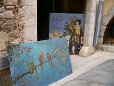 Outside an art gallery in Spain.