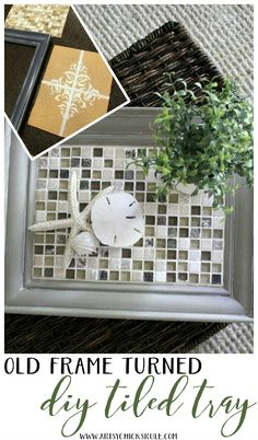 Old Frame Turned DIY Tiled Tray - SIMPLE PROJECT - artsychicksrule.com #diytiledtray #tiledtray