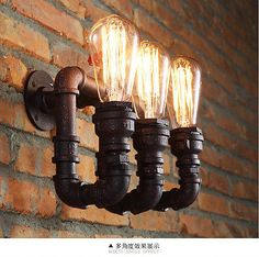 Vintage Rustic Warehouse Sconce Pipe Wall Light Lamp Edison Bulbs Industrial