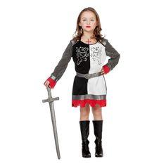 Kinder-Kostüm Ritterin schwarz-weiß Gr 140-152