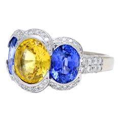 Gregg Ruth Yellow and Blue Sapphire and Diamond Ring