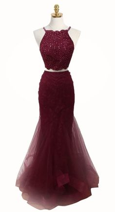 elegant two piece burgundy tulle prom dress with